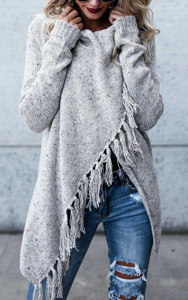 Fringe Sweater Outfit Idéer