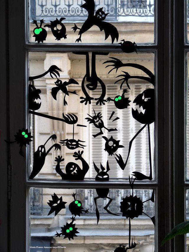 Halloween fönster dekoration idéer