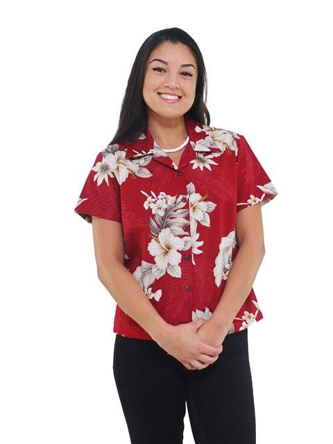 Pacific Legend Hibiscus röd bomullströja för kvinnor.