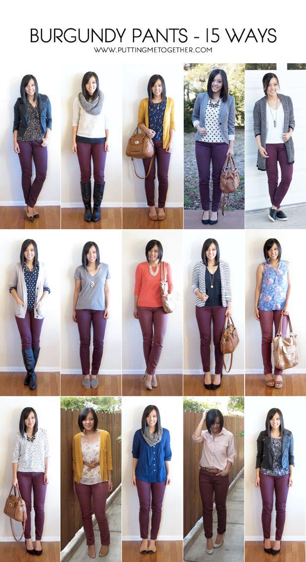 Hur man bär Burgundy Jeans