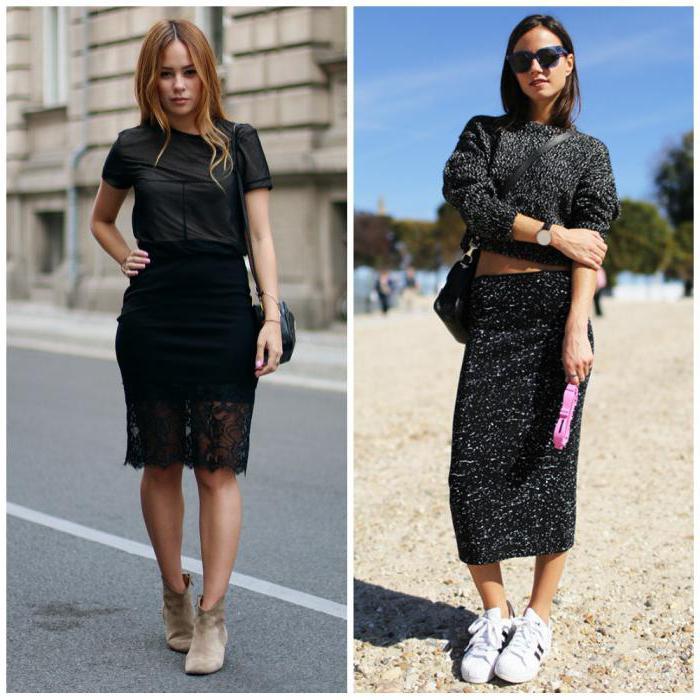 Hur man bär svart hög låg kjol