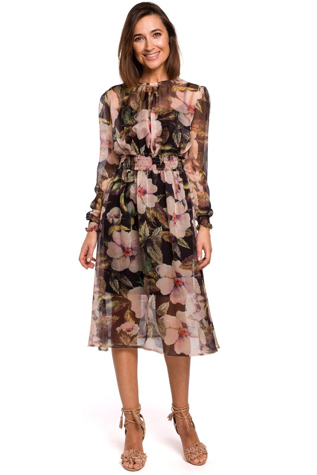 Hur man utformar svart blommig klänning