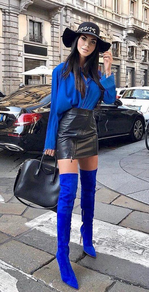 Idéer för outfit för blå lårhöga stövlar