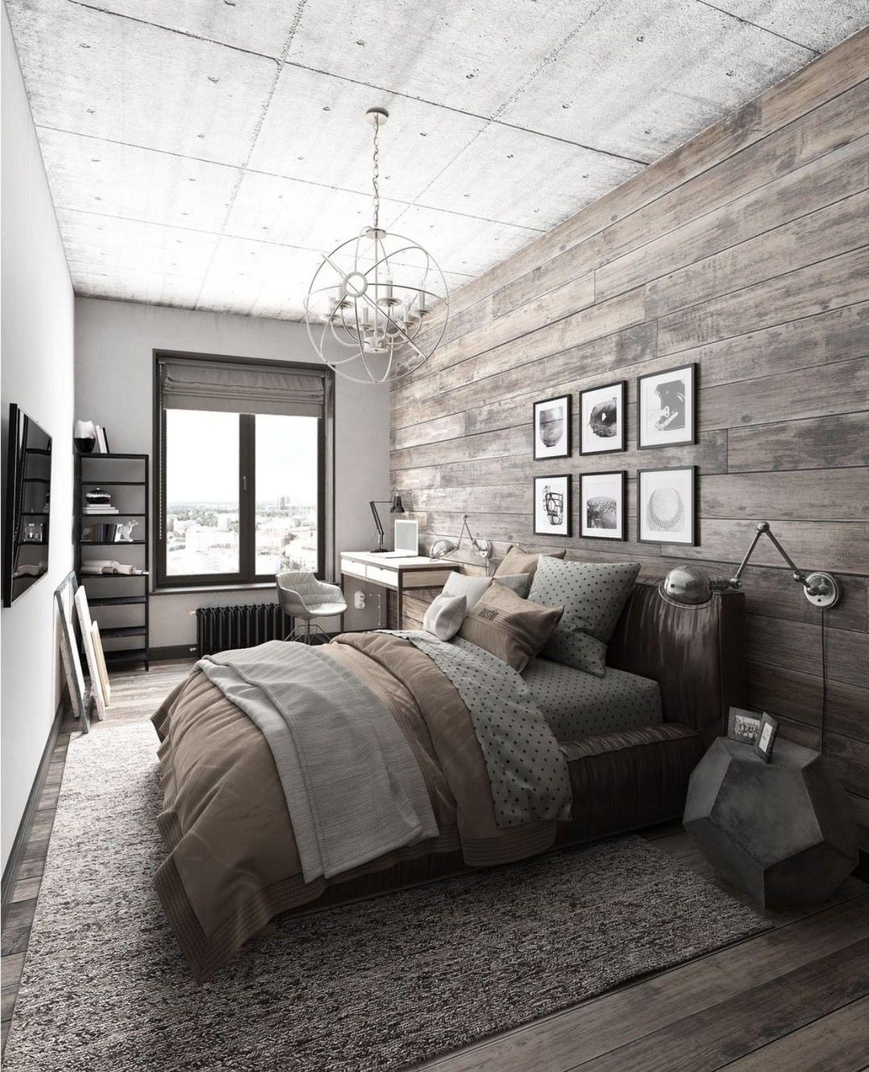 Industriellt rustikt sovrum
