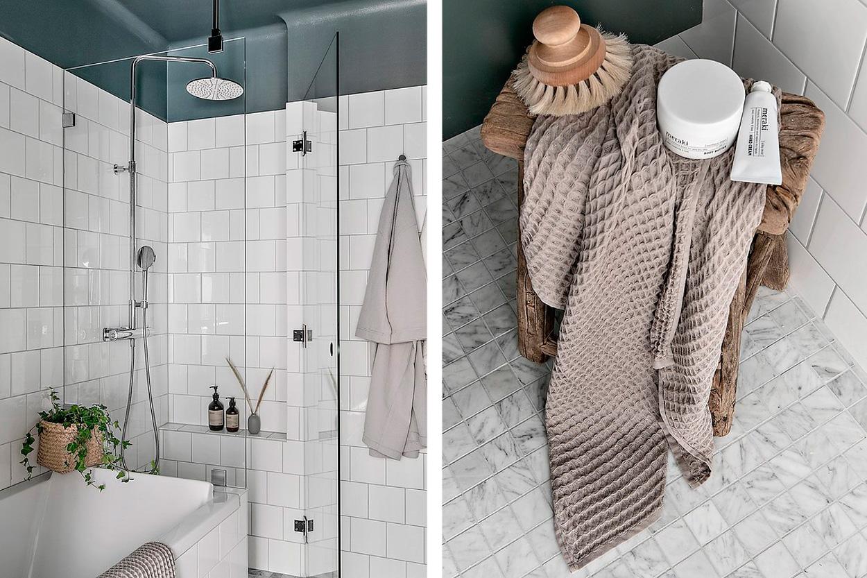 Kalla vita badrum
