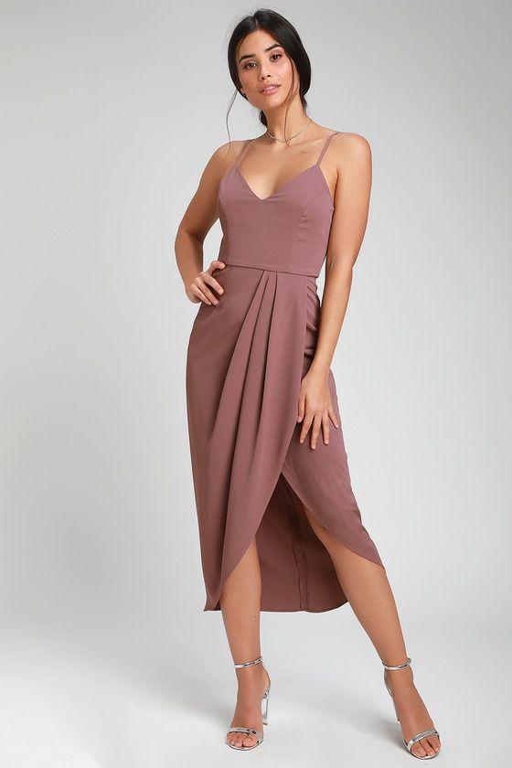 Lila Midi Dress Outfit Idéer