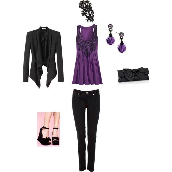 Purple and Black Outfit av Candis (FLFairy) |  Lila kläder, rosa.