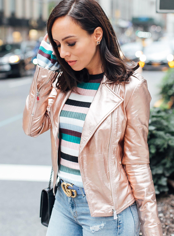 Metallic Jacket Outfit Idéer