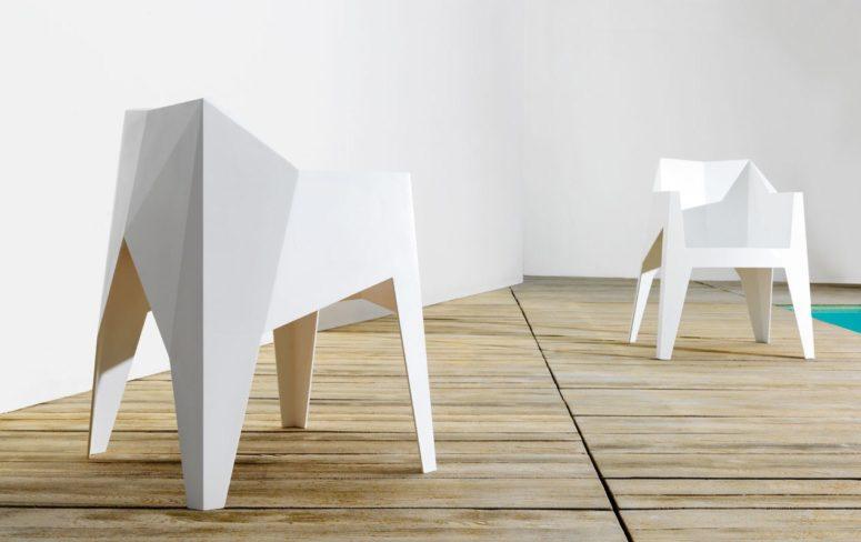 Minimalistisk facetterad Voxel-stol