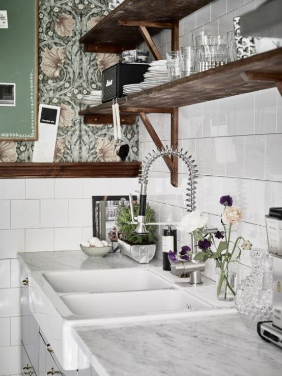 Moody Floral Scandinavian Kitchen Design Copper Accessories