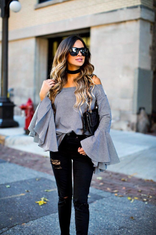 Off Shoulder Bell Sleeve Top Outfits