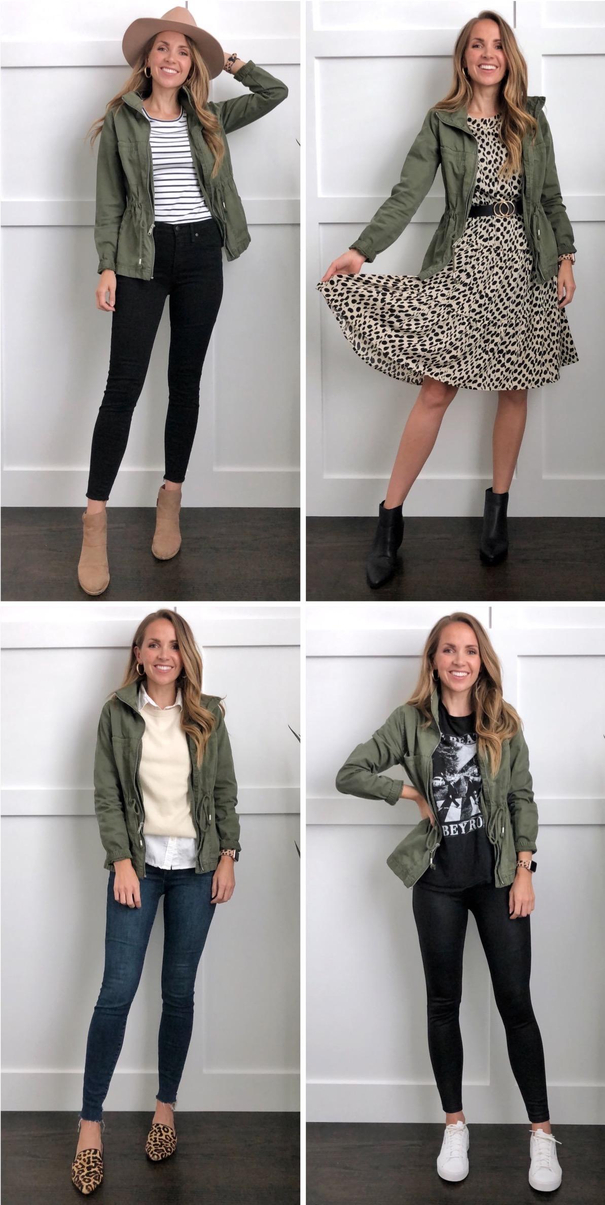 Olive Green Jacket Outfit Idéer