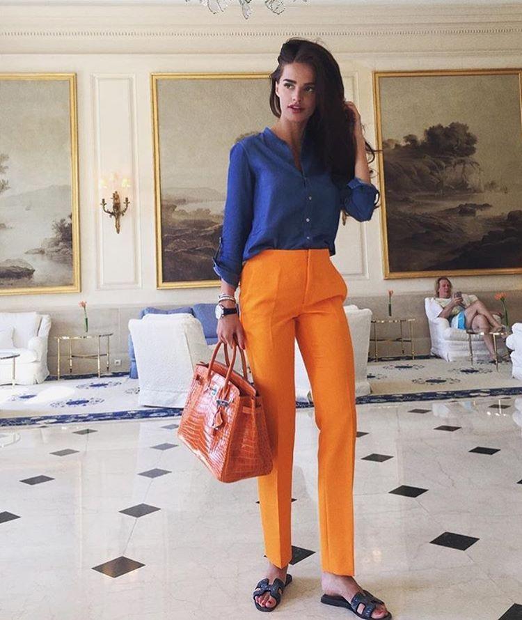 Orange byxor stil färg vinter