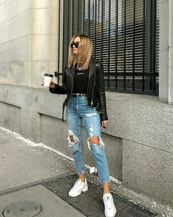 Patched Jeans Outfit Idéer