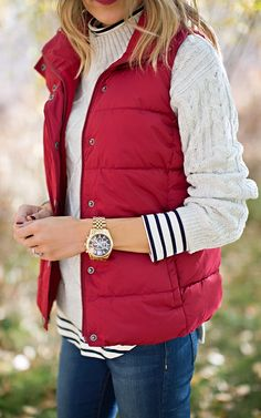 Red Vest Outfit Idéer