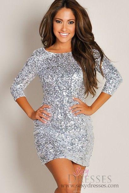 Silver Sequin Dress Outfit Idéer
