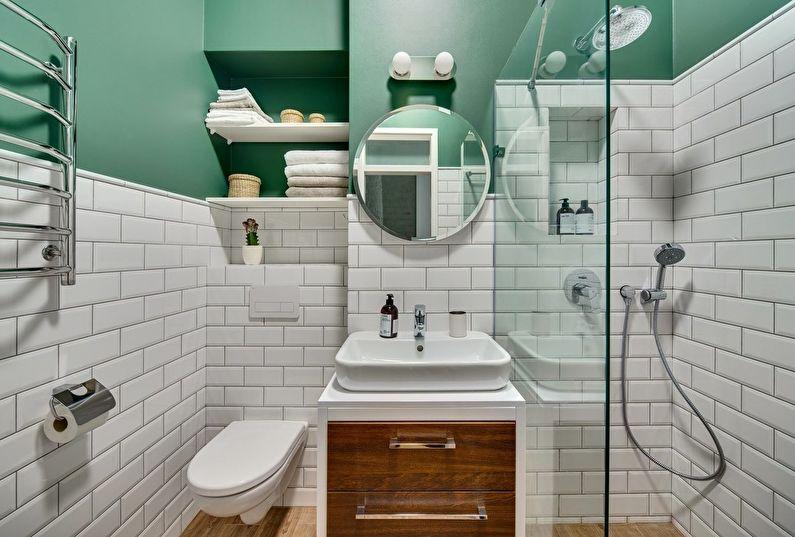 Snygga och lakoniska minimalistiska badrumsdekorationer