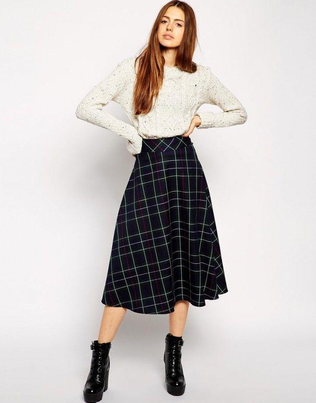 Style Black Plaid Kjol Outfits damer