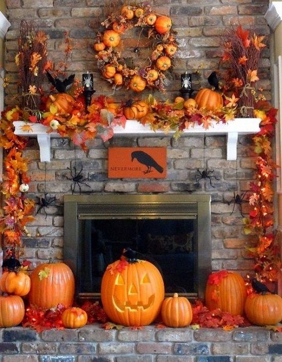 Thanksgiving eldstad dekor
