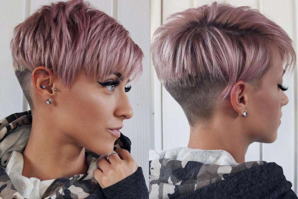 Trendig kvinna kort frisyrstil