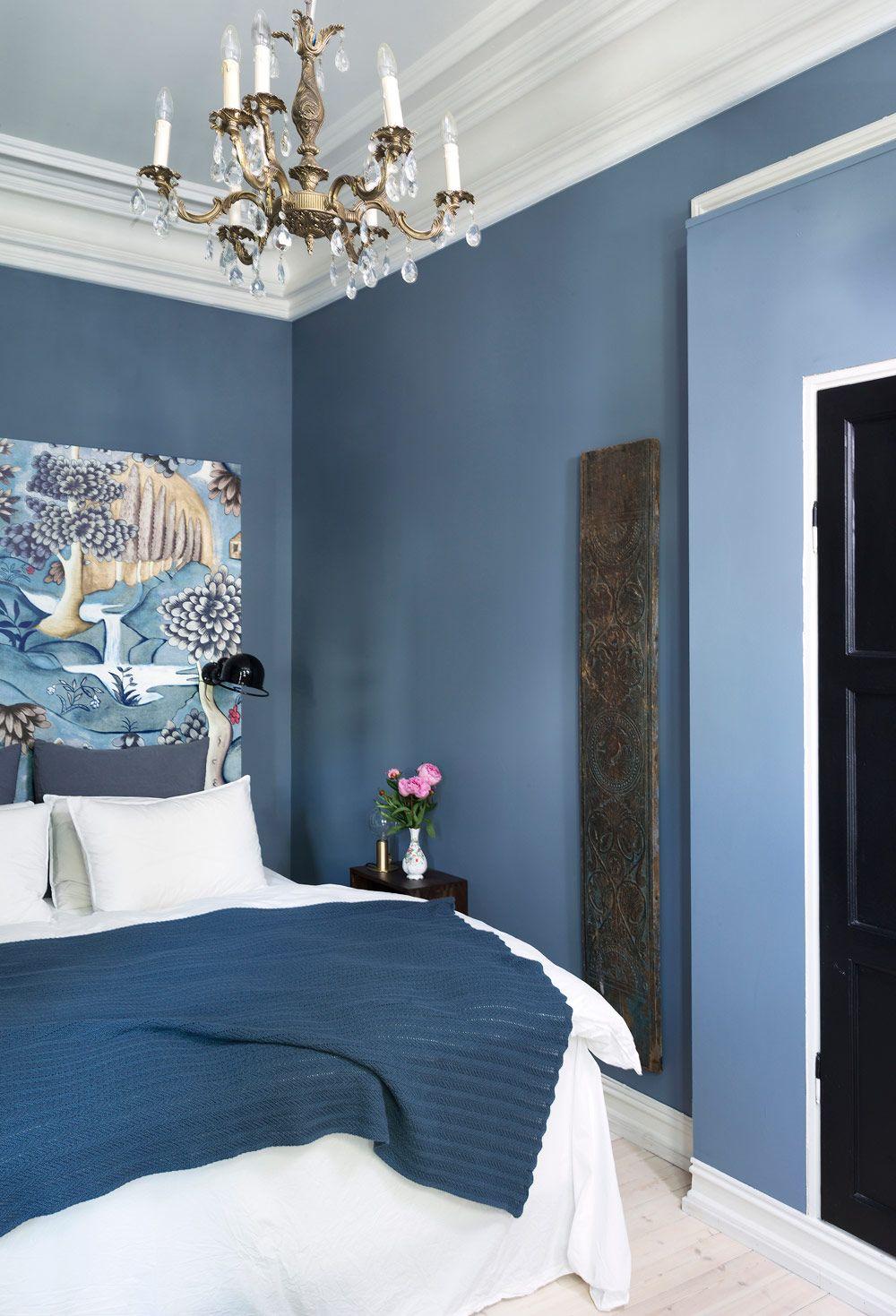 Vackra blå och grå sovrum
