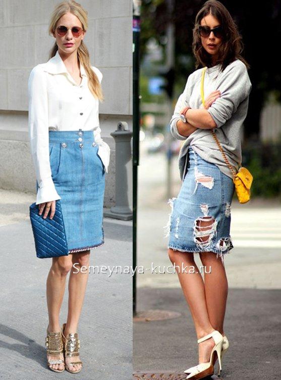 Vilken rock att bära med en denim kjol