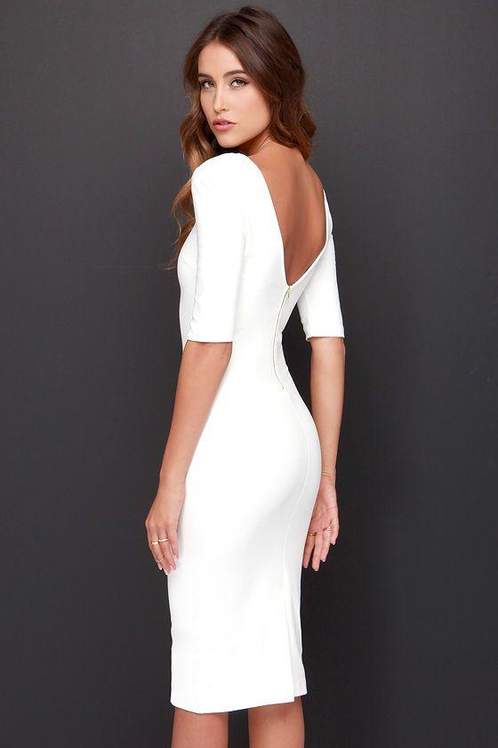Vit Bodycon Midi Dress Outfit Idéer