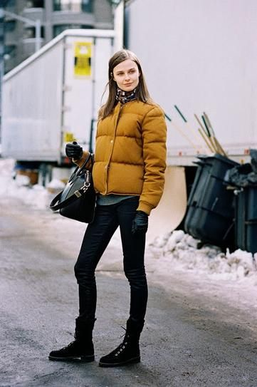 Yellow Puffer Jacket Outfit Ideas